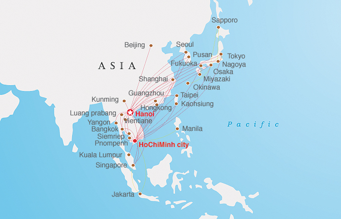 Vietnam Airlines Asia Map